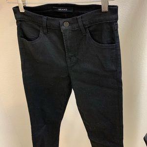 j brand black shiny coated jeans